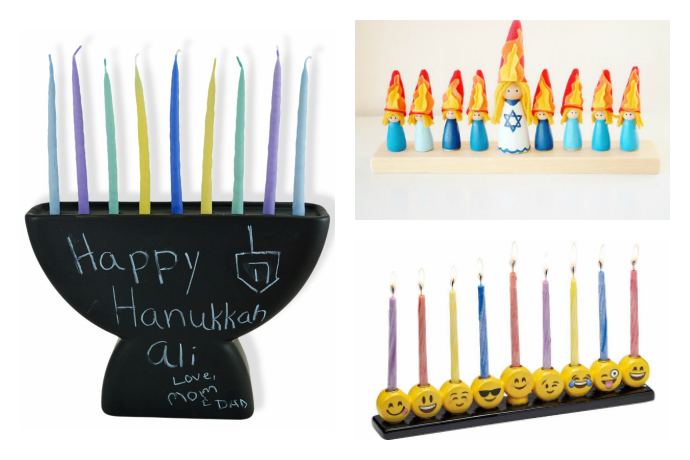 12 of the coolest menorahs for kids, from rainbows to dinosaurs to emoji.