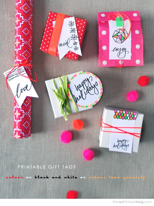 How fun are these color-your-own printable gift tags from The Red Thread at We Are Scout?