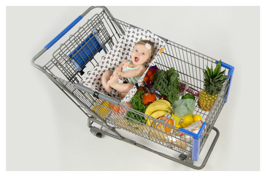 Grocery shopping with a baby? You've got to see this cool shopping cart hammock.