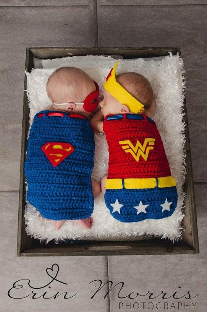 Superhero baby announcement idea for twins © Erin Morrison Photography
