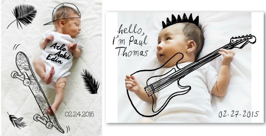 Creative birth announcements for twins: Illustrations over photos by artist Todd Borka