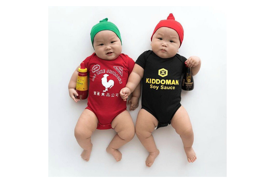 Creative birth announcement ideas for twins: Awesome Sauce twin onesies at Buzzbear Studios. Ha!