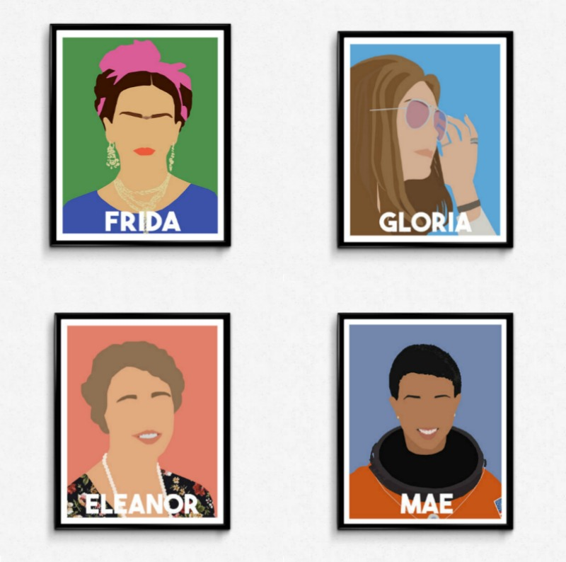 Feminist Mother's Day gift ideas: Heroic women icon prints from The Film Artist on Etsy