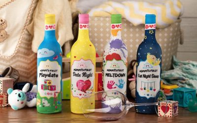 Mommyhood wine bottle labels: Here's to surviving your first playdate from hell.