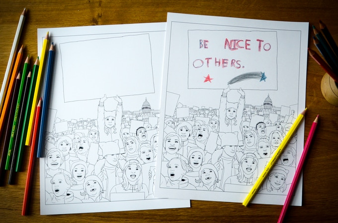 The We March coloring book includes blank pages so kids can fill in signs with the causes they care about | coolmompicks.com