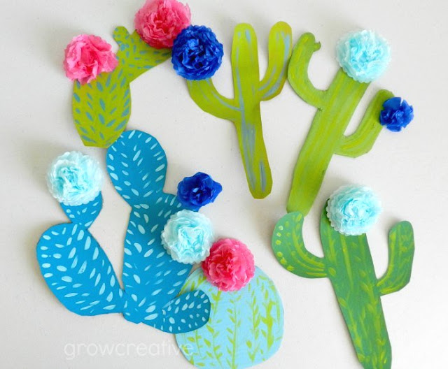 Cactus crafts for kids: Cardboard Cacti DIY from Elise at Grow Creative Blog