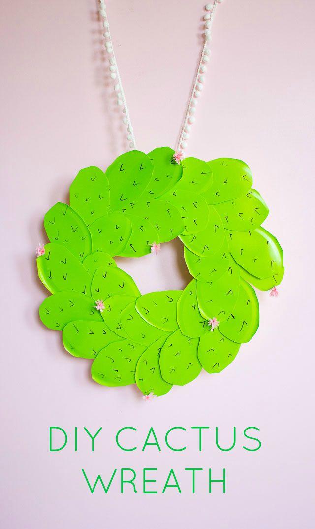 Cactus crafts for kids: DIY Cactus Wreath craft tutorial at Design Improvised