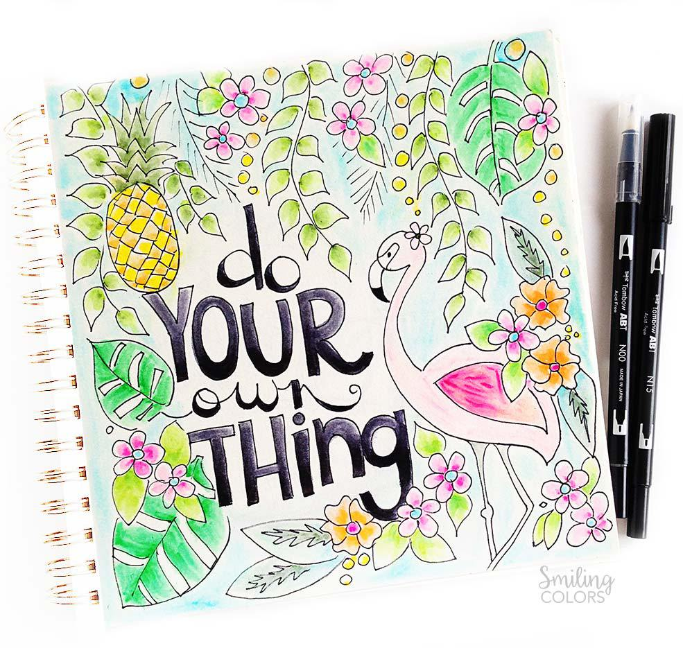 Summer coloring pages for teens: Do Your Own Thing Free Printable | Smiling Colors