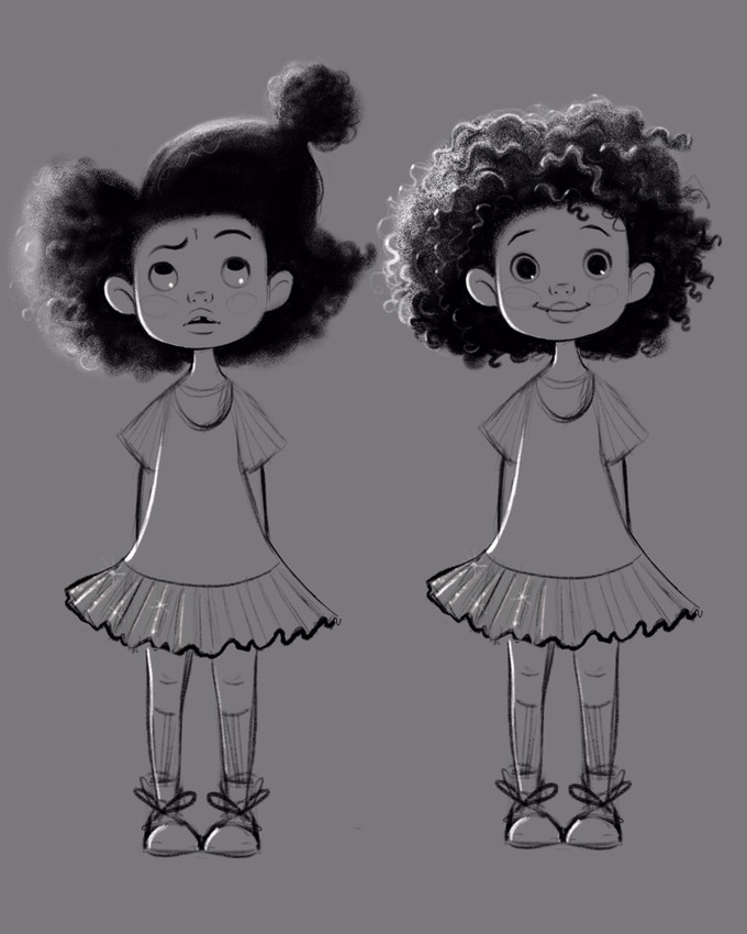 Hair Love film: sketches of the main character Zuri
