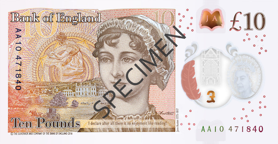 The new Jane Austen 10 pound note from Bank of England!