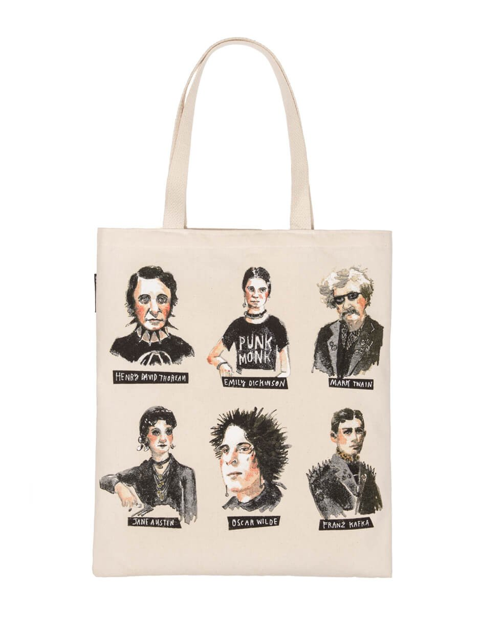 Totes for book nerds: Punk Rock Authors Tote   Out of Print Clothing