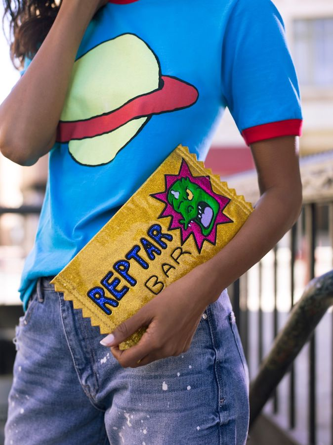 Vintage Nicktoons accessories: Love this Reptar Bar clutch from the Rugrats! | coolmompicks.com