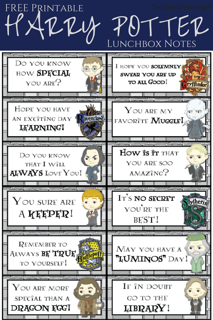 Back to school printable: Free Harry Potter Lunch Note Printables | The Quiet Grove