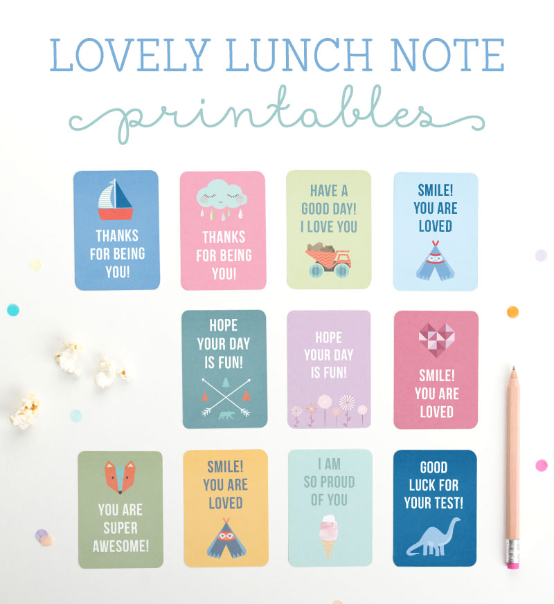 Back to school printables: Free Lovely Lunch Note Printables | Tiny Me