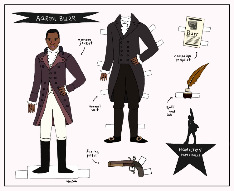 free printable paper dolls: aaron burr paper doll by tyler feder