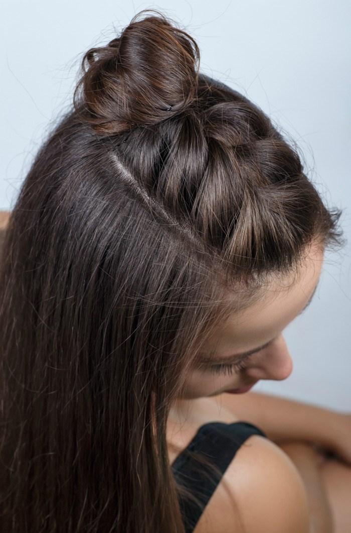 Hair braiding tutorials: Half Braid tutorial at Double the Batch