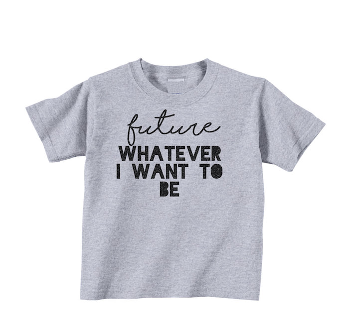Cool, smart slogan t-shirts for kids: Future Whatever I Want to Be by Catch A Wave Designs