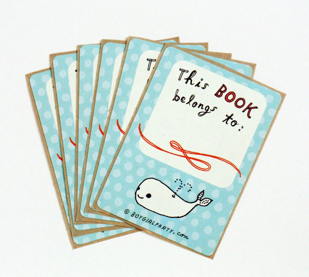 Cute whale bookplates from Boy Girl Party | Back to School Guide 2017