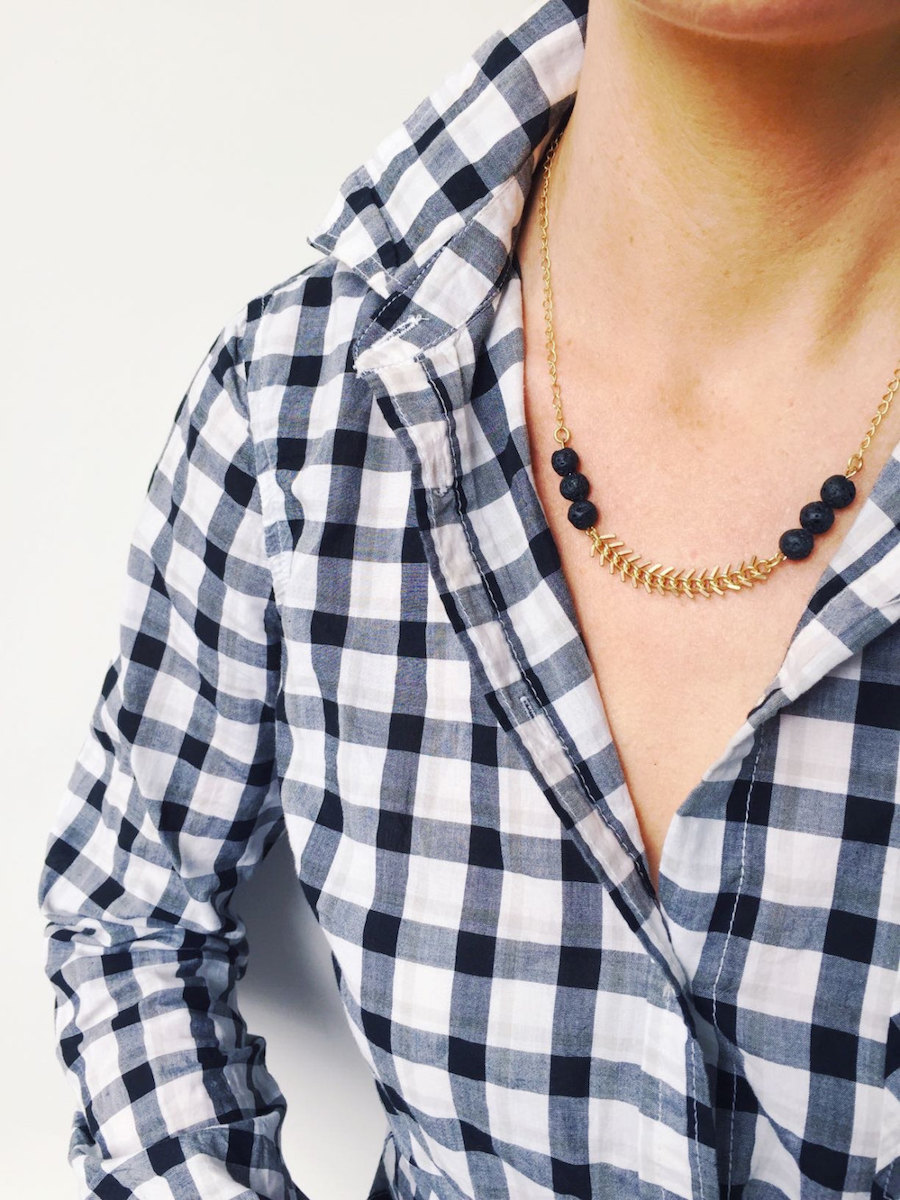 Essential Oil Jewelry: Herringbone Necklace at Lava Collection