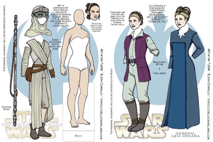Free printable paper dolls: Star Wars Paper Dolls by Pop Culture Looking Land by Elena Carillo