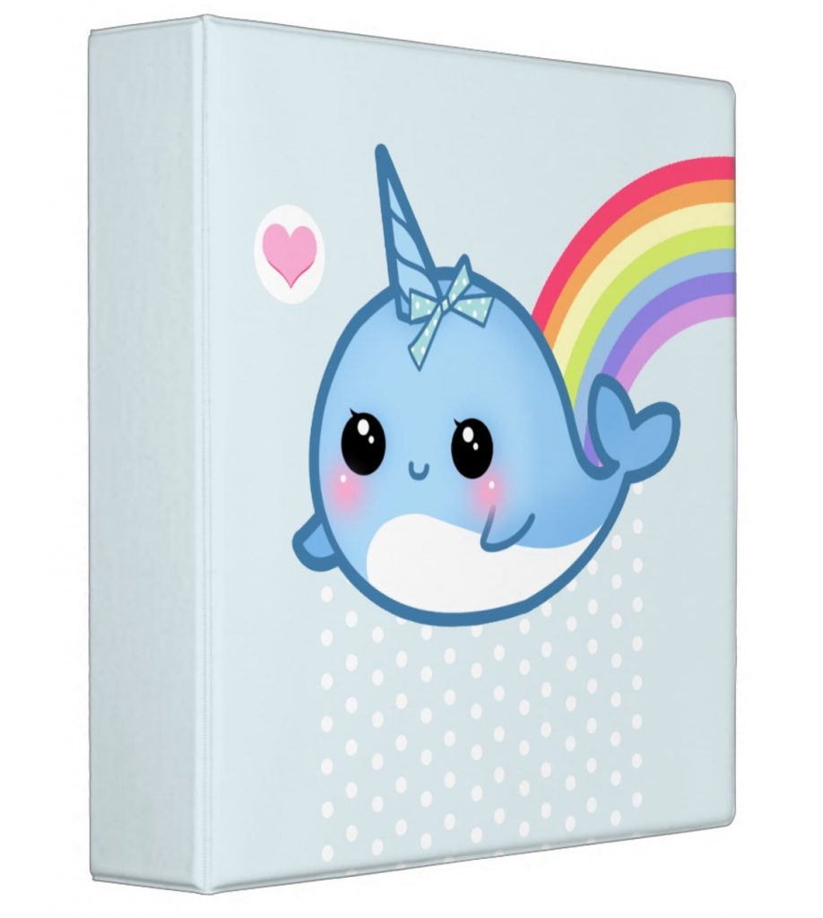 Personalized kawaii baby narwhal rainbow binder | Cool Mom Picks back to school shopping 2017