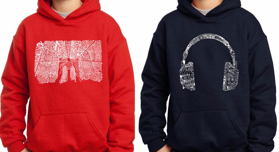 Los Angeles pop art tees and sweatshirts: The graphics are made from words like music, in 47 different languages