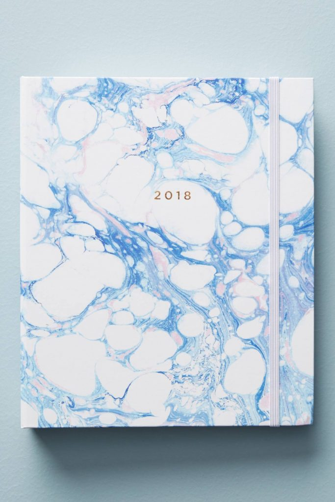 Pretty 2017-18 school year planners: Marble 2017-18 planner by Hadron Epoch at Anthro. Beautiful!