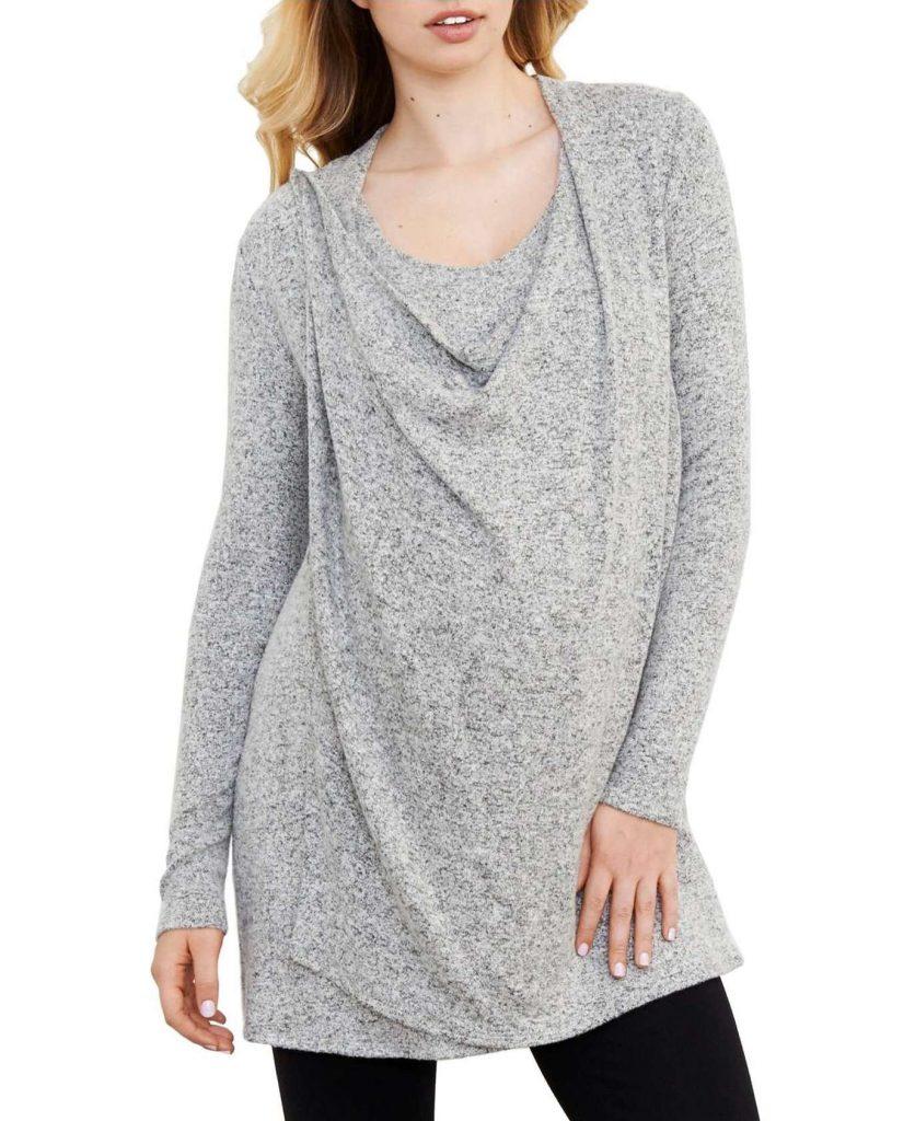 5 stylish, must-have maternity staples: The drape-neck maternity/nursing sweater from Maternal America