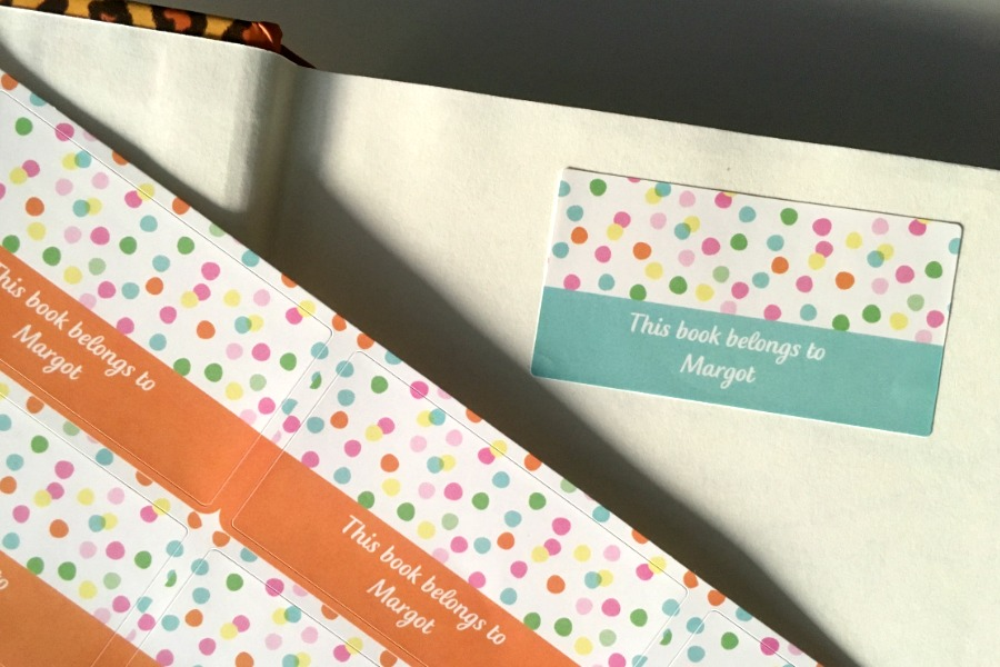 Cute personalized bookplate labels make it easy to keep track of school books and journals