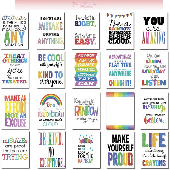 Back to school printables: Rainbow Lunch Note Printables | Pink Rainbow Designs