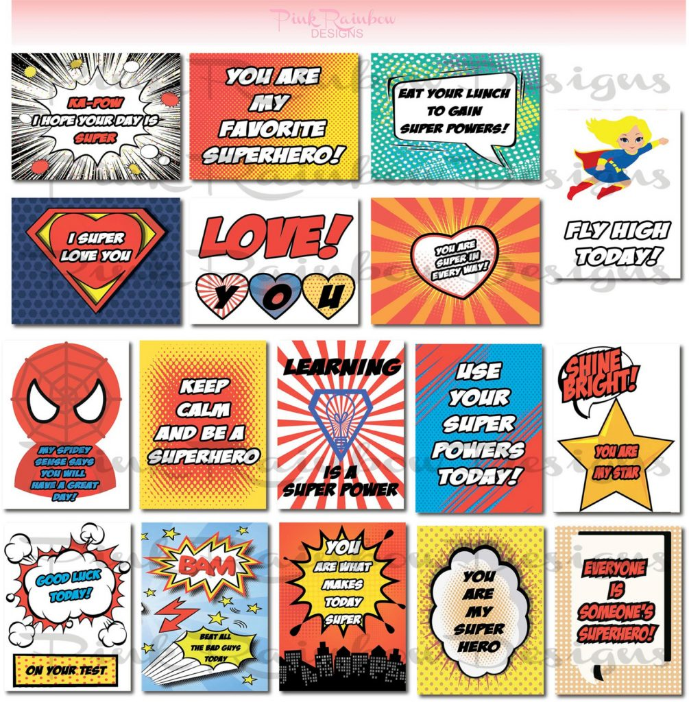 Printable motivational superhero lunch notes on Etsy