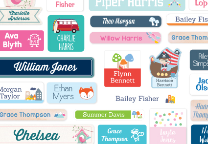 Stuck on You personalized name labels in hundreds of combinations, right down to the font and background color   cool mom picks   sponsor