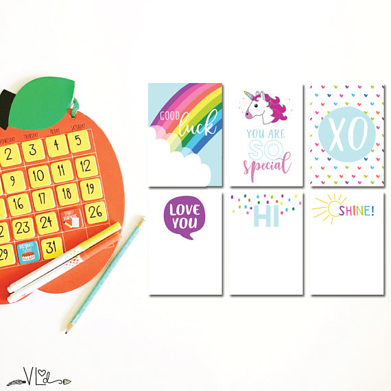 Back to school printables: Lunchbox Notes Printables | VonnLou Designs