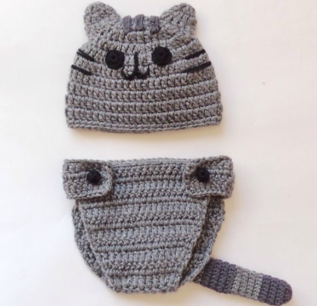 Hottest pop culture baby Halloween costumes: handmade Pusheen baby cap and diaper cover at KernelCrafts on Etsy