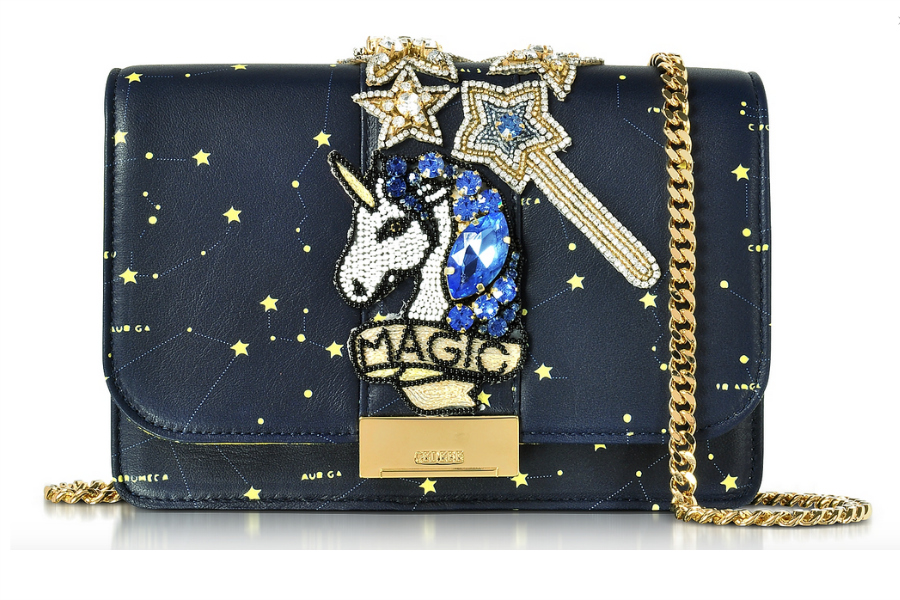 GEDEBE designer calfskin unicorn purse embellished with amazing accents