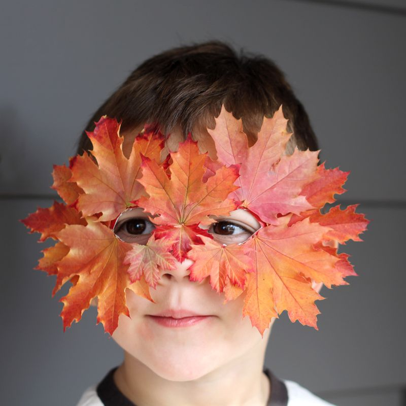 Kids crafts using fall leaves:  DIY Leaf Mask | Small + Friendly