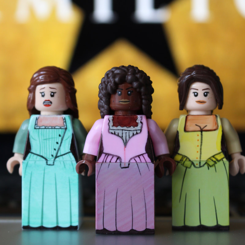 The Schuyler Sisters and the rest of the Hamilton cast recreated in LEGO by Broadway Bricks