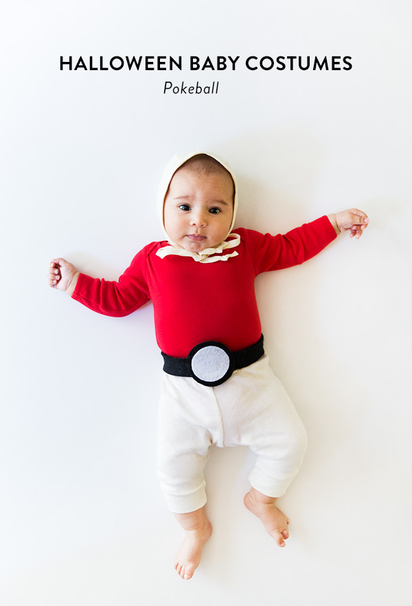 No-sew Halloween costumes: Pokeball Baby Costume | Say Yes