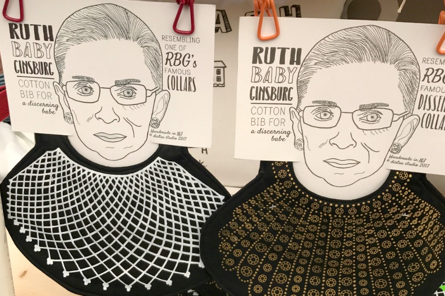 The Ruth Bader Ginsburg baby bib: For when dissent means no peas, please.
