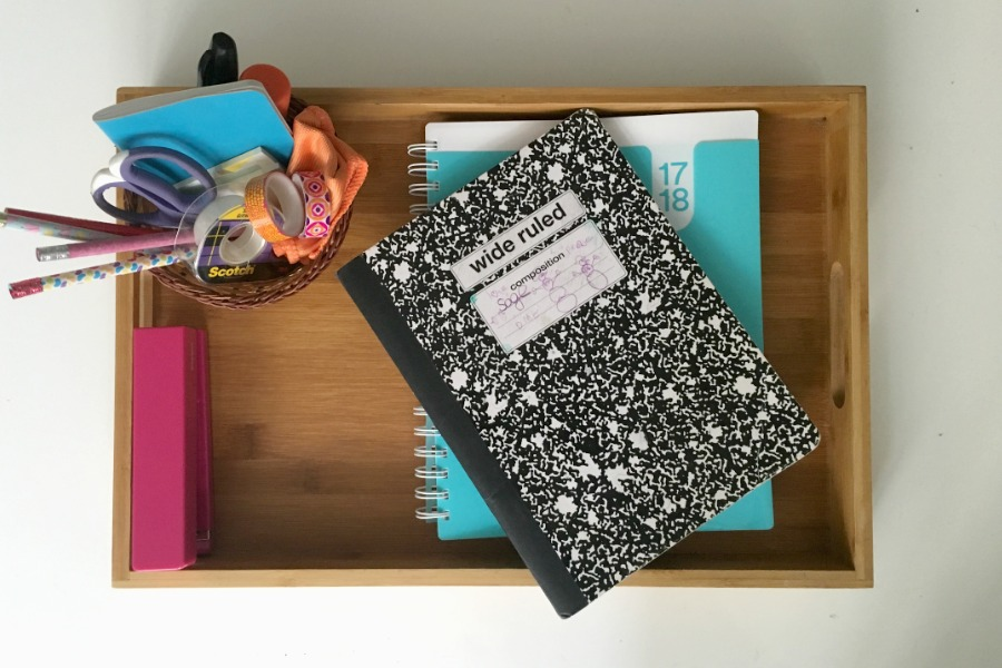 How to make a portable homework tray: brilliant small space organizing solution instead of a lot of desks | cool mom picks
