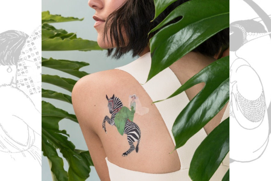 These vintage Vogue illustration tattoos are the cat's pyjamas.