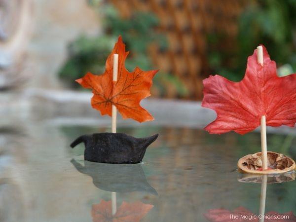 Kids crafts using fall leaves: Walnut Leaf Boats | The Magic Onions