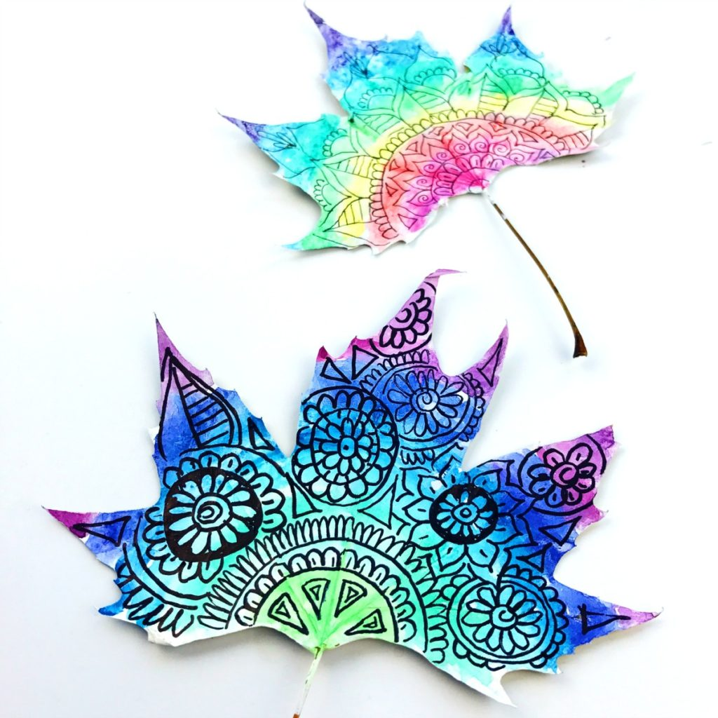 Kids crafts using fall leaves:  Watercolor Leaf Art | Color Made Happy