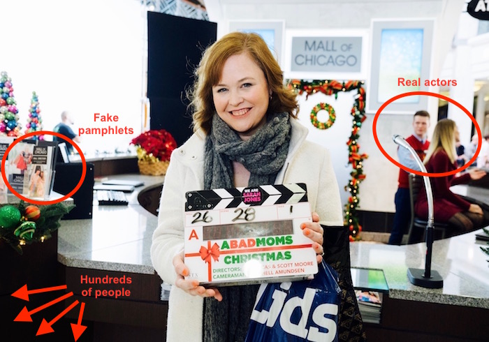 A Bad Moms Christmas: Onset as an extra, with a handy infographic