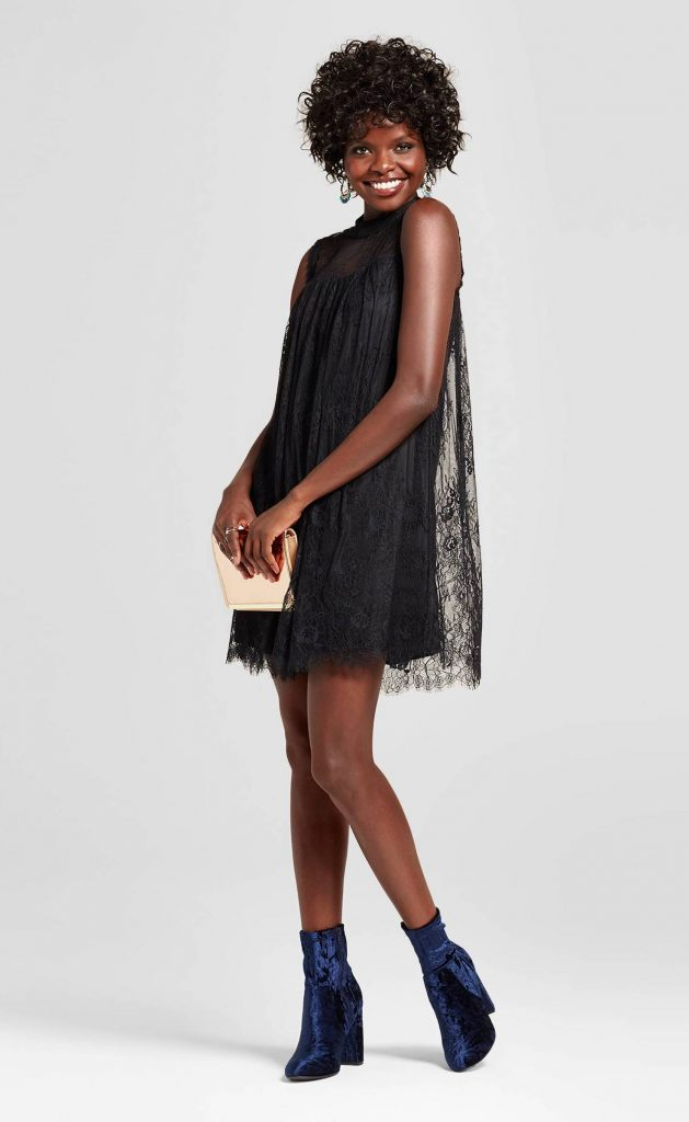 Babydoll dress updated for the 21st century: High neck black lace shift from Target