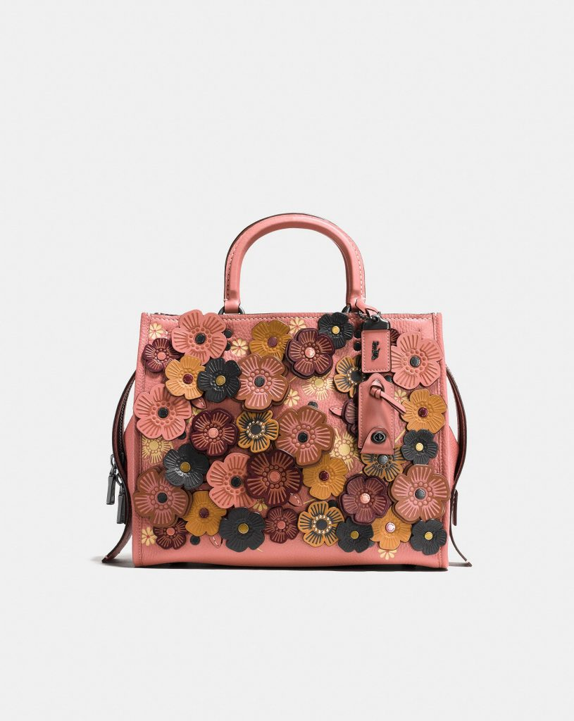 Coach Rogue Leather Tote in Tea Rose with stunning leather rose detailing