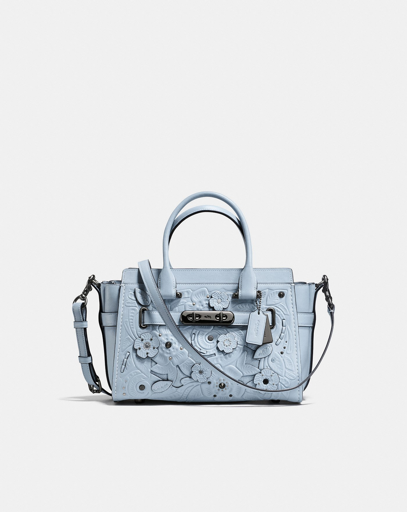 Coach Swagger 27 Bag with Tea Rose Accents in a gorgeous dusty blue | colorful handbags for fall