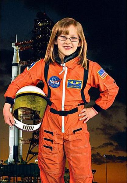 Strong girl costumes modeled after real life heroes: Be Sally Ride or Mae Jaemeson with this official orange NASA jumpsuit | coolmompicks.com