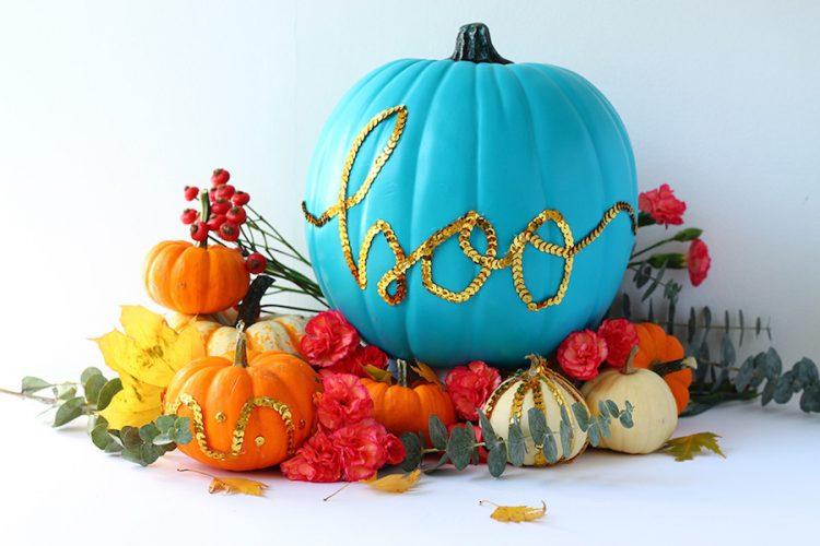 Teal pumpkin decorating ideas: Sequin Message Pumpkin DIY from Squirrelly Minds