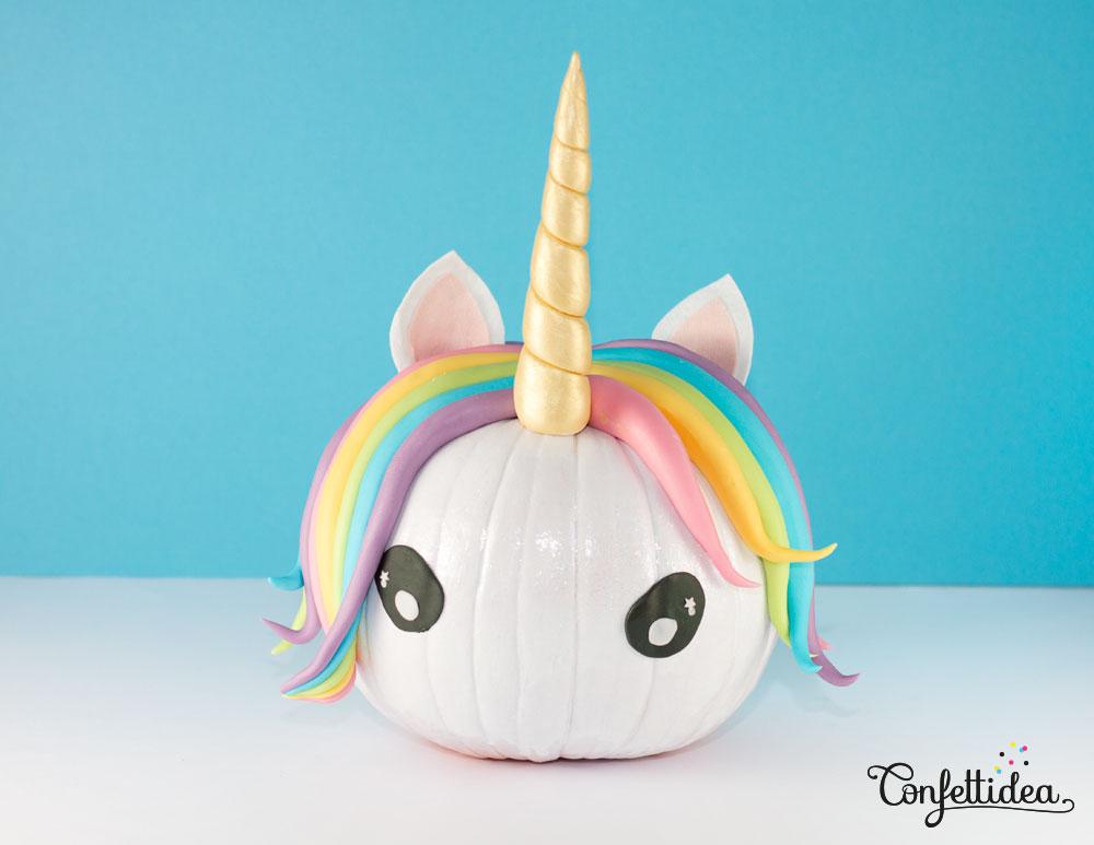 Unicorn rainbow pumpkin DIY from Confetti Idea